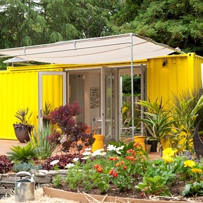 don't laugh...a container upcycled into a patio cabana