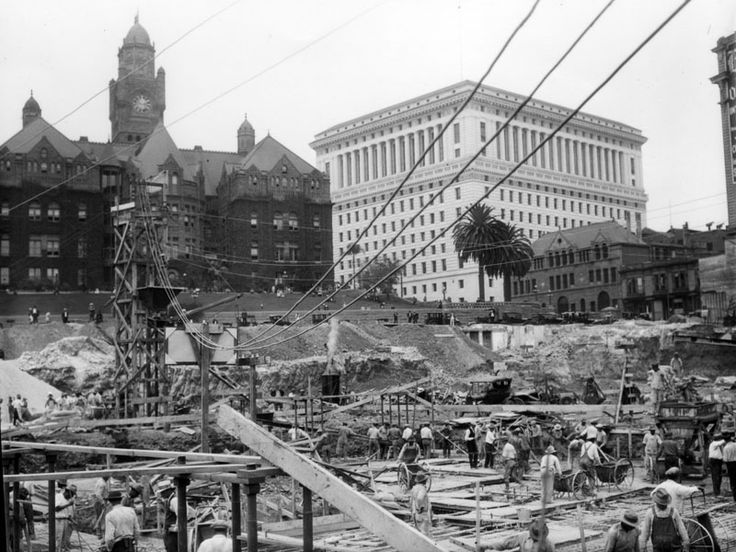 (1927)* - Preparation of the site for construction of Los Angeles City Hall, 1927. Behind are the old County Courthouse and the Hall of Justice.