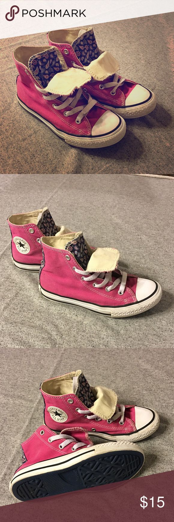 Girl's Converse Double Tongue High Top Girl's Converse High Top. Double tongue with paisley print.  GUC. Feel free to make an offer using the OFFER button. Bundle 2+ items to save! Thanks! Converse Shoes Sneakers