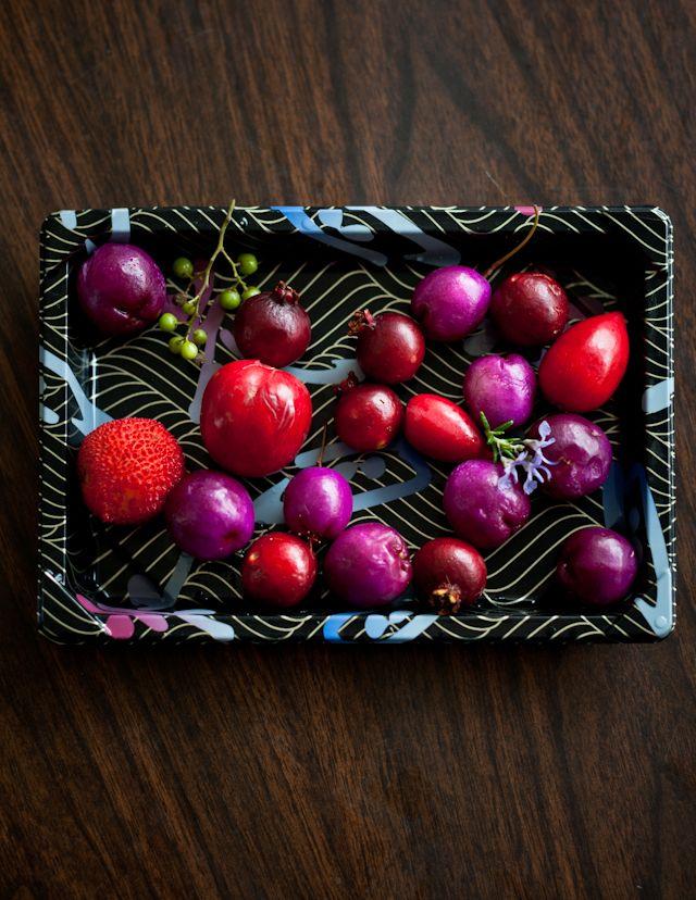 arbutus fruit, lilli pillis, strawberry guava, natal plums, California pepper, and flowering rosemary