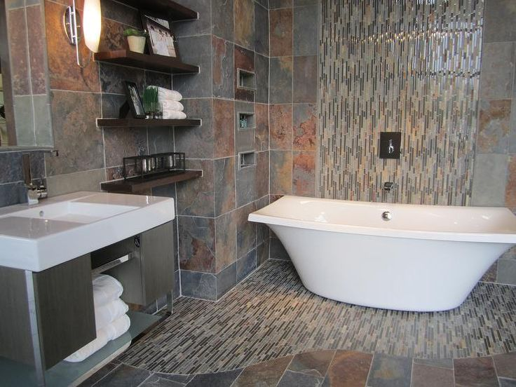Slate bathroom with slate and glass mosaic freestanding