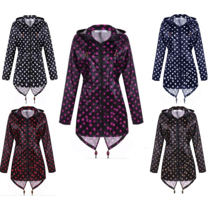 24.50€ Manteau imperméable à capuche à pois - bestyle29.com