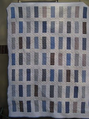 I am really starting to like the look of this for dad's shirt quilts.