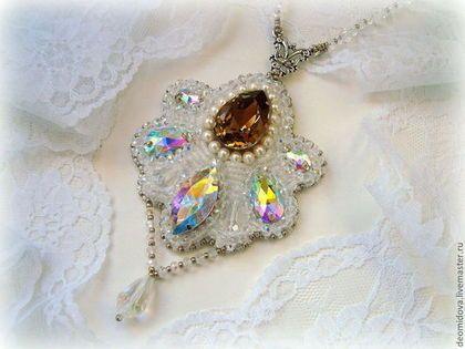 """Купить """"Рассветная звезда"""" кулон с кристаллами и жемчугом - кристаллы, Сваровски, кулон со сваровски"""