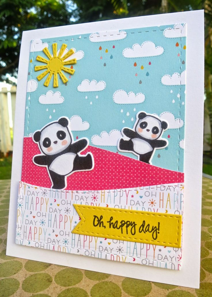 Pandamonium: Mama Elephant, Sentiment: Lil Inkers and patterned paper: Lawn Fawn, Wahine Inks...