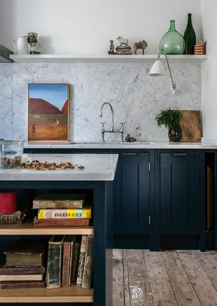 Skye Gyngell kitchen by British Standard, Carrara marble countertop and back splash, Farrow & Ball Hague Blue Cabinets, Photography by Alexis Hamilton | Remodelista