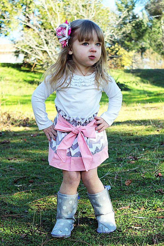 Grey Chevron And Pink Skirt - Little Girl Skirt - Baby -4754