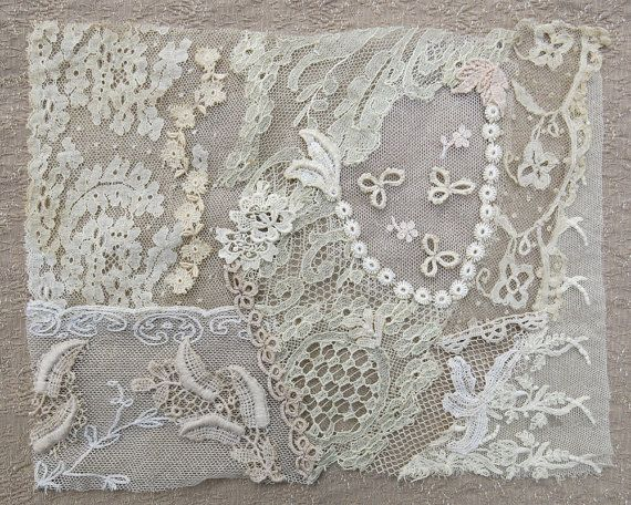 Vintage & Antique Lace Collage, No. 18 ... Embellishment for crazy quilting, heirloom sewing, fabric art, journals, assemblage, multi media