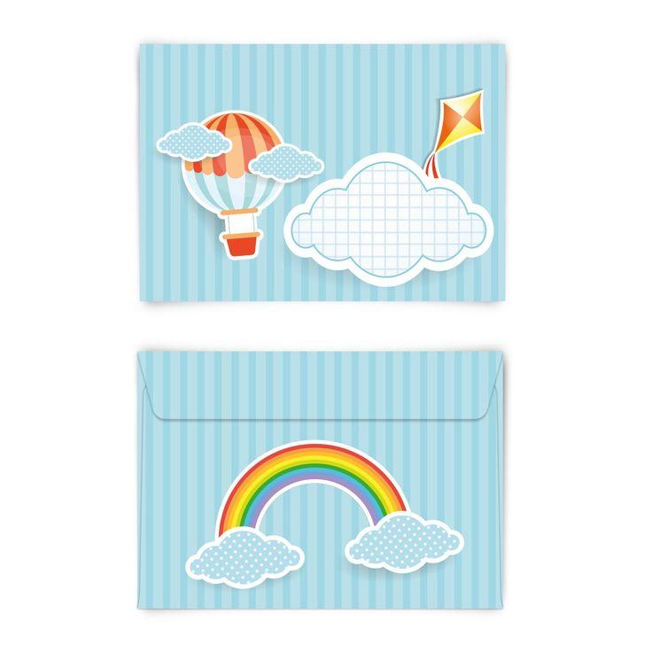 Perfekt für den Kindergeburtstag <3 (Briefumschlag, DIN C6 quer) #briefumschlag #kreativ #papeterie #kindergeburtstag #wolken #regenbogen