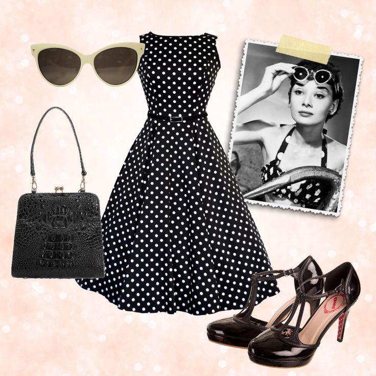 Lady Vintage Hepburn dress, Dancing Days by Banned Betty black patent shoes, Collectif Clothing faux croc handbag and ivory cat eye sunglasses ♥ missretrochic.com boutique rétro-vintage et glamour