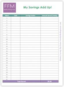 Download this free savings chart to record your weekly savings. #savemoney #savingschart
