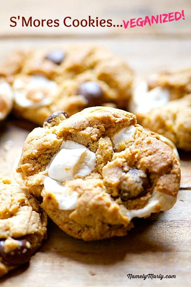 S'mores Chocolate Chip Cookies... But where to find vegan marshmallows?