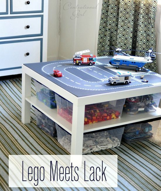 Lego table with storage ... sort of a DIY but looks like it would take all of 5 minutes to put this together (table from IKEA, storage bins and some tacky stuff to secure the Lego building plates).