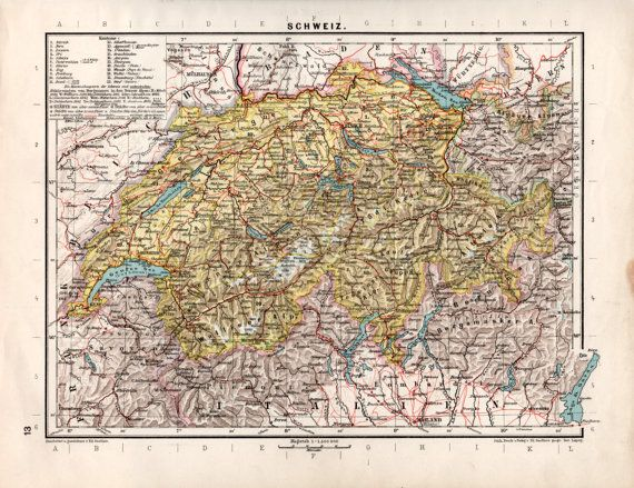 1920's Switzerland Old Map Switzerland Antique Map by Craftissimo