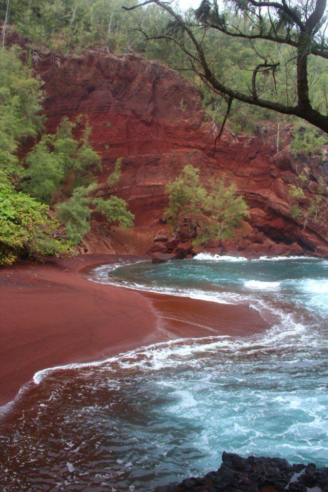 Red Sands Beach, Hana, Maui - photo via No ka Oi Adventures