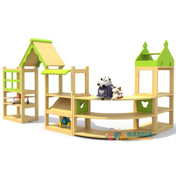 區域區角組合玩具櫃早教幼兒園兒童儲物架收納架樟子松轉角分區櫃