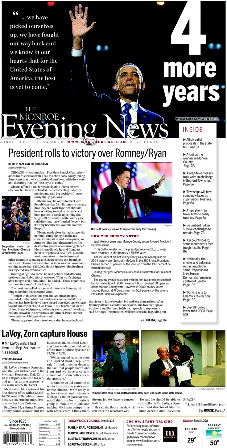Front page of The Monroe Evening News Wednesday Nov. 7, 2012. Complete election results at www.monroenews.com