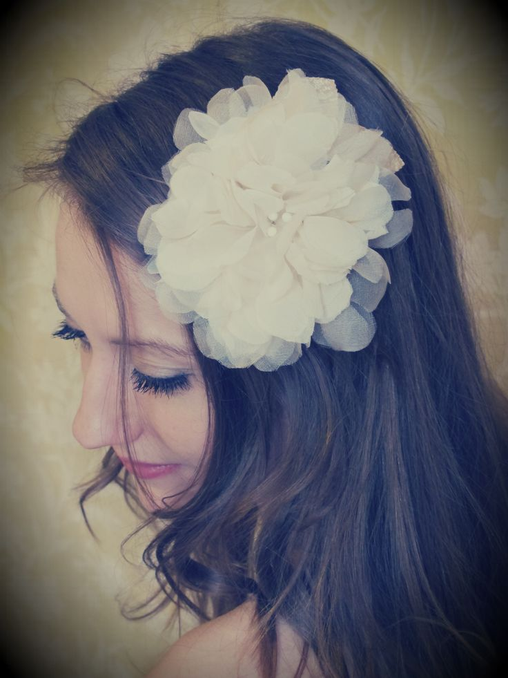Hand pressed large soft 100% silk chiffon ivory hair comb