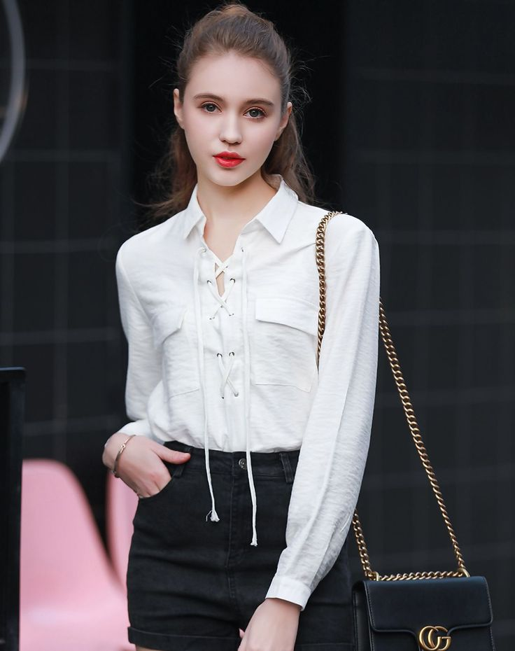 #VIPme White Plain Simple Shirt Collar Tied Shirt ❤️ Get more outfit ideas and style inspiration from fashion designers at VIPme.com.
