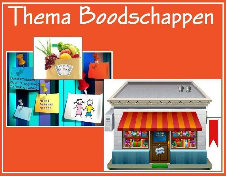"""Thema boodschappen. Dit thema beschikt ook over het speel-en oefenboekje """"in de winkel"""" en woordkaarten met handleiding. www.peuteractiviteitenweb.nl"""