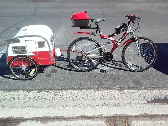 I built this little Shasta Dog Bike Trailer for my 3 Chi Puppies from a Childs Bike Trailer I found on Craigslist for $10 and a $10 Sheet of Coroplast.