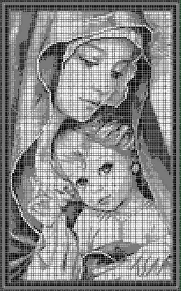 A Virgem e o Menino  - em ponto de cruz