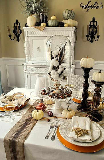 DIY:: Rustic Glam Fall Decor Ideas (like the pumpkins on candle sticks)