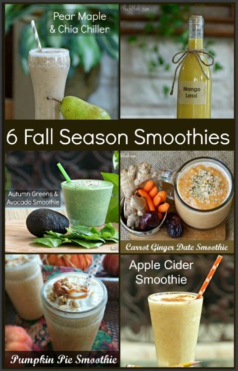 Six Fall Season Smoothie Recipes -- get your blender going with these healthy beverages made from autums finest fresh ingredients -- spinach, ginger, pears, mango, pumpkin, cinnamon, apples, chai and more. Perfect for a sensible snack, meal replacemnt or post workout recovery. | thefitfork.com
