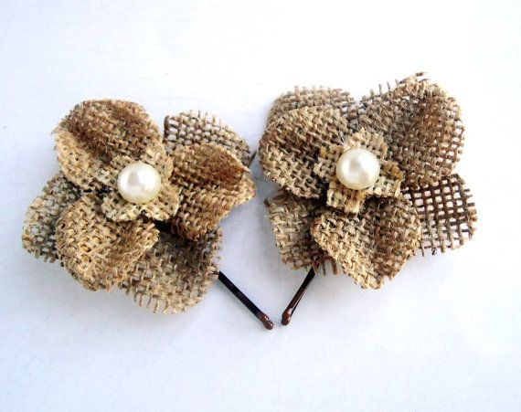 Burlap Wedding Hair Flowers, Burlap Hydrangea Hair Clips, Rustic Wedding Hair Clips,Country Wedding, More Colors on Etsy, $8.00