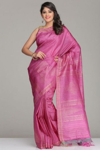 Pink Tussar Silk Saree With Gold Zari Border And Motifs