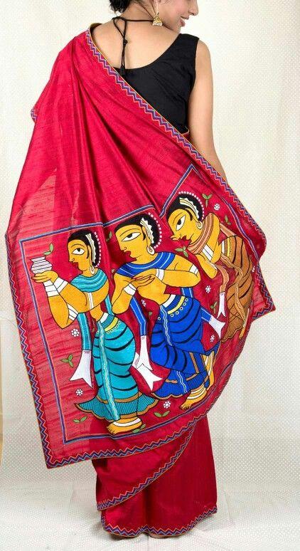 Handpainted Jamini Roy motifs on matka silk