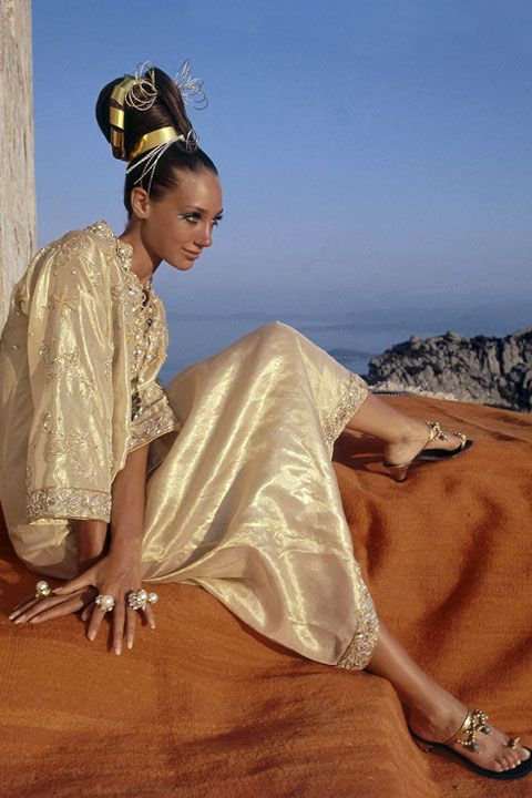 Marisa Berenson in Sardinia for Vogue, 1967, by Henry Clarke