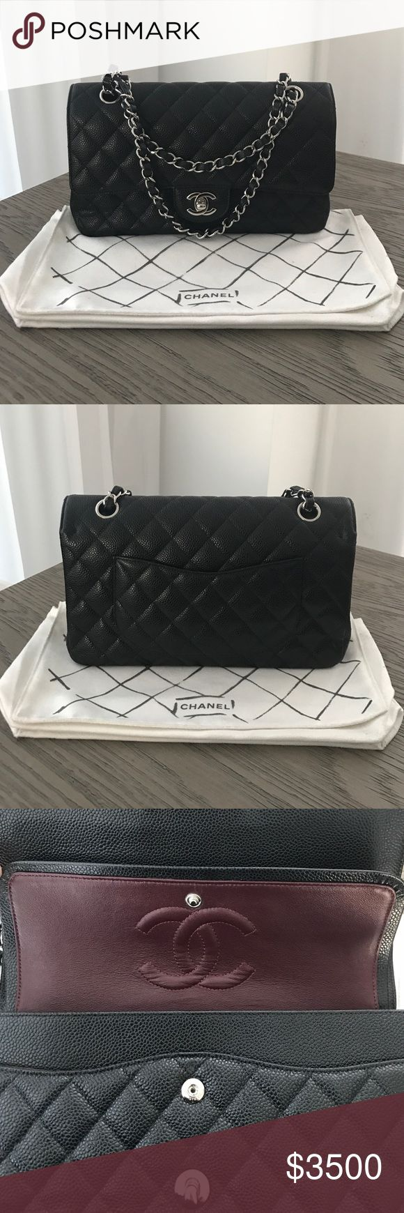 Black Chanel Classic Caviar Medium Size Bag Up for sale is a Classic Chanel Caviar Medium Size Bag in Black. Comes with original card and dust bag. CHANEL Bags Shoulder Bags