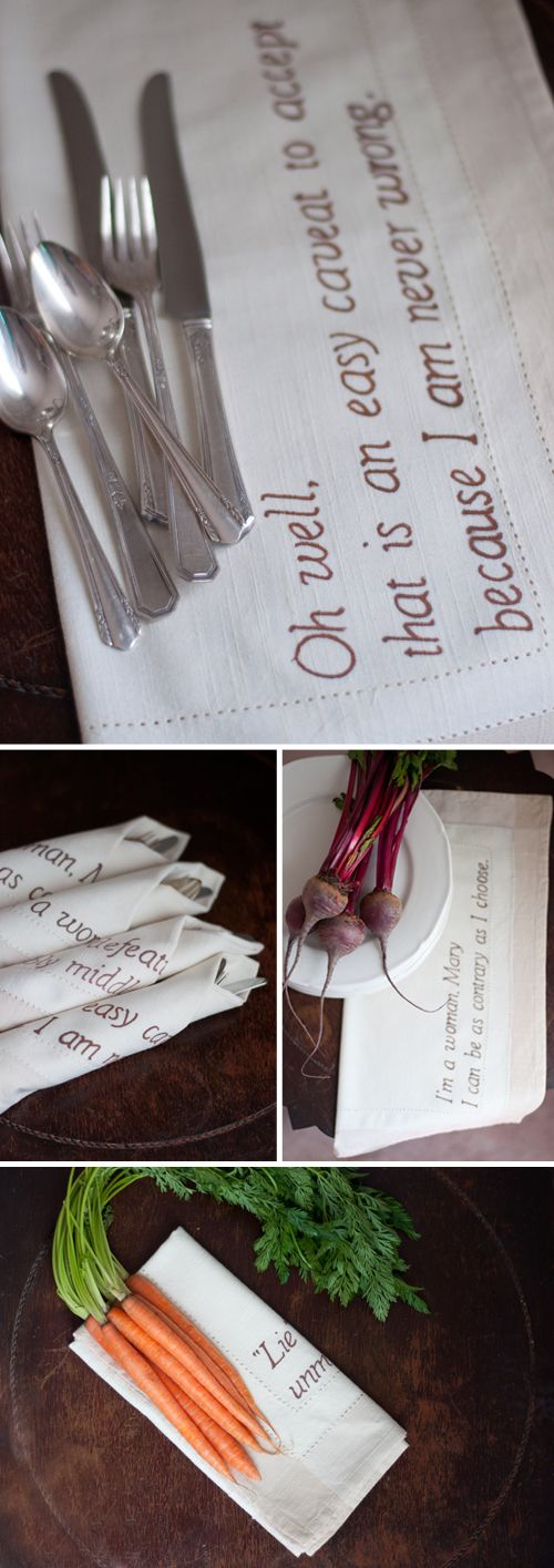 A gift for the Downton Abbey obsessed. DIY Downton Abbey Quote Napkins.
