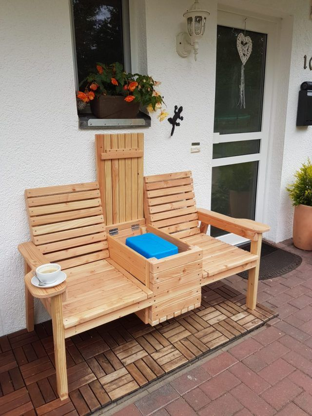 Double Chair Bench With Table Diy Outdoor Furniture Pallet Furniture Designs Bench Plans