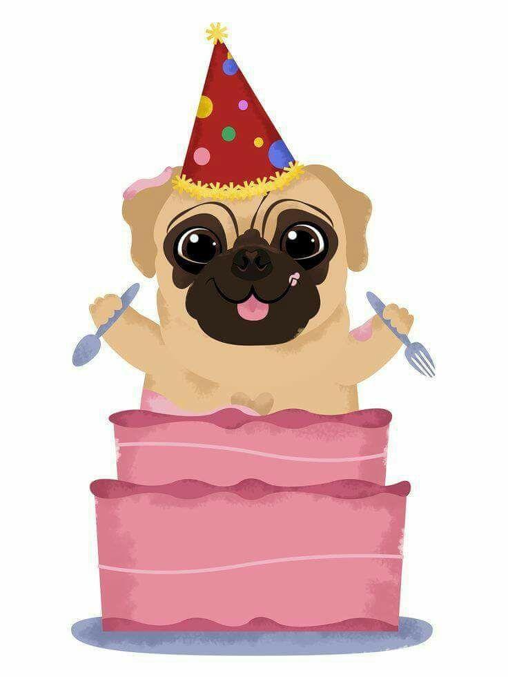 Открытки на день рождения с мопсами