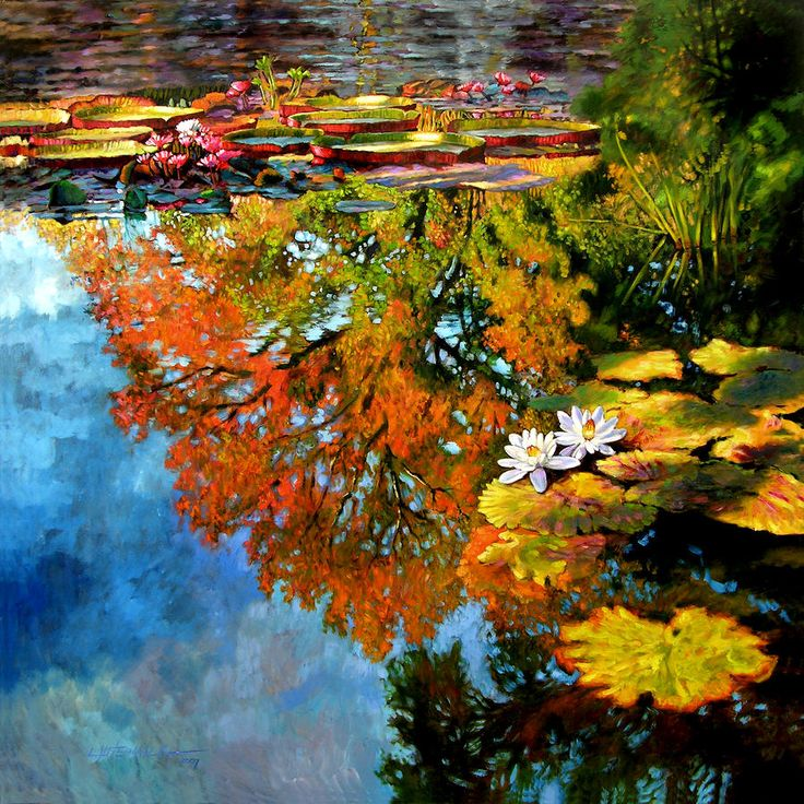 Early Morning Fall Colors Painting Water Lily