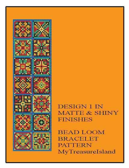 Bead Loom Bracelet Quilt Style Pattern Design 1 and 2