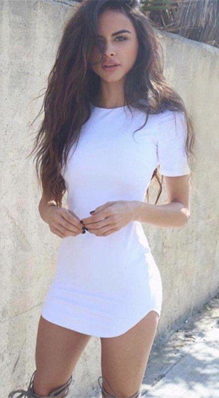 Mode, figurbetontes Skinny Scoop Short Dress
