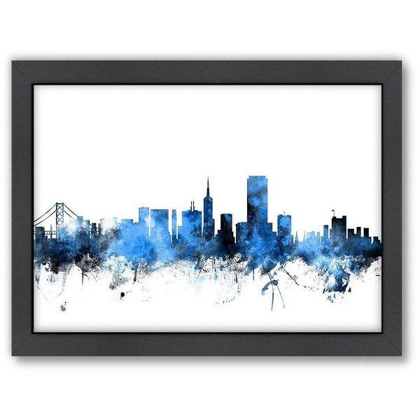 "Americanflat Michael Tompsett ''San Francisco Skyline'' 20"" x 26""... ($70) ❤ liked on Polyvore featuring home, home decor, wall art, blue, framed wall art, blue wall art, cityscape wall art, skyline wall art and horizontal wall art"