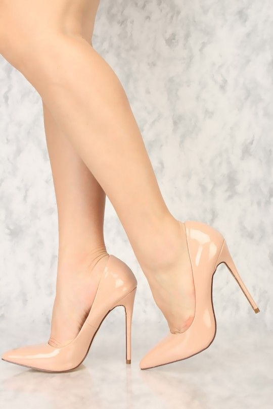 86be1fb521 Sexy Taupe Pointy Close Toe Single Sole High Heels Patent Faux Leather
