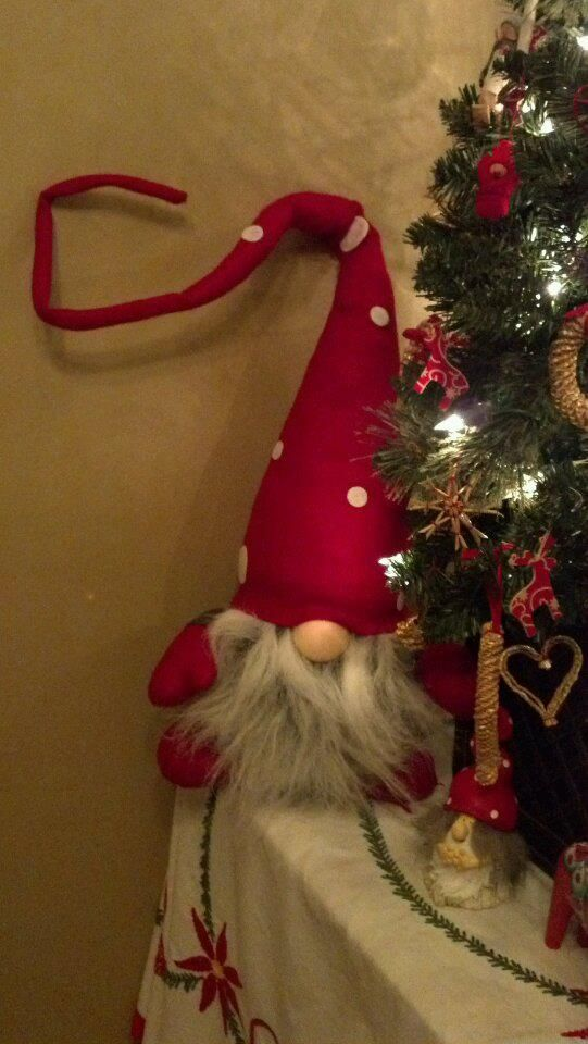 This gnome stands guard over the presents under the Swedish tree.