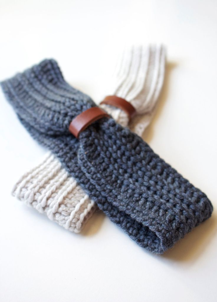 Crochet wool and leather headband by Thislushcorner on Etsy