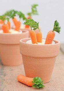 easy carrots and dip appetizer -I'd totally paint these pink with hearts all over and use them!! super cute idea