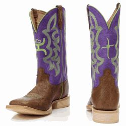 Hooey Women's Purple & Lime Square Toe Boots....These boots are a must have for any cowgirl who loves to show off her western style!
