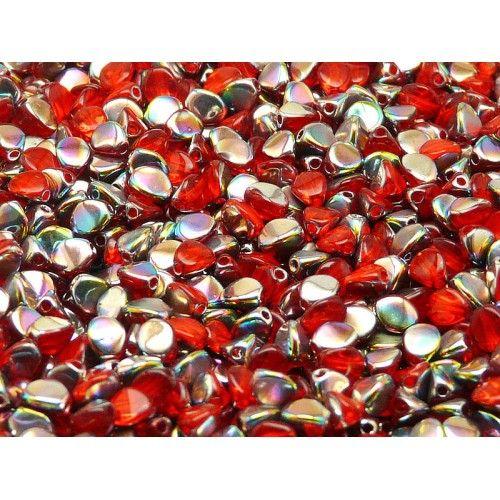 50pcs Czech Glass Pinch Beads 5x3.5mm Hyacinth Vitrail