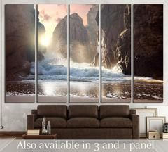 Fantastic big rocks and ocean waves at sundown time №1400 Canvas Print