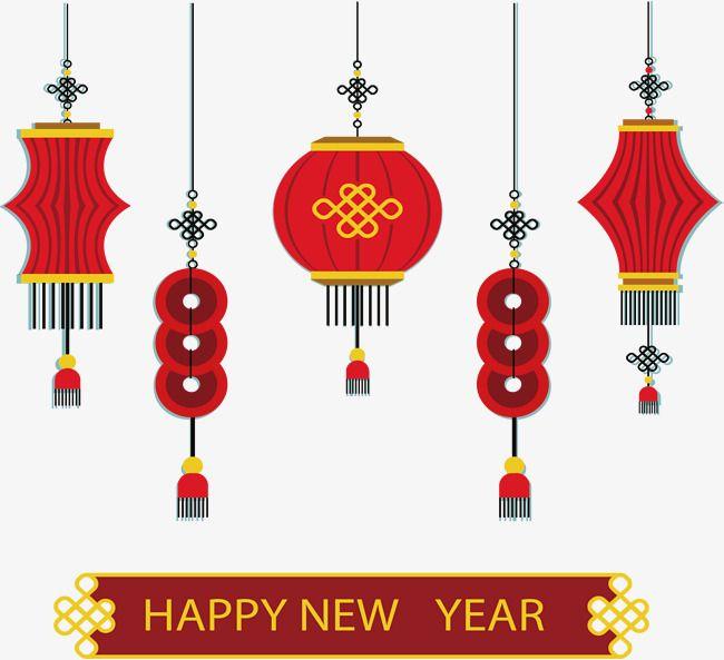 红色中国春节灯笼