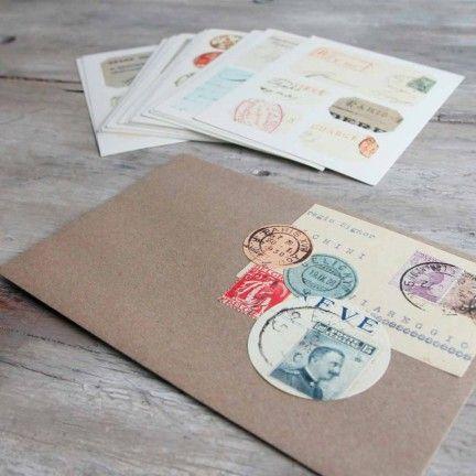 """Caja de adhesivos """"Sellos y cartas"""". A la venta en: www.mrwonderfulshop.es"""