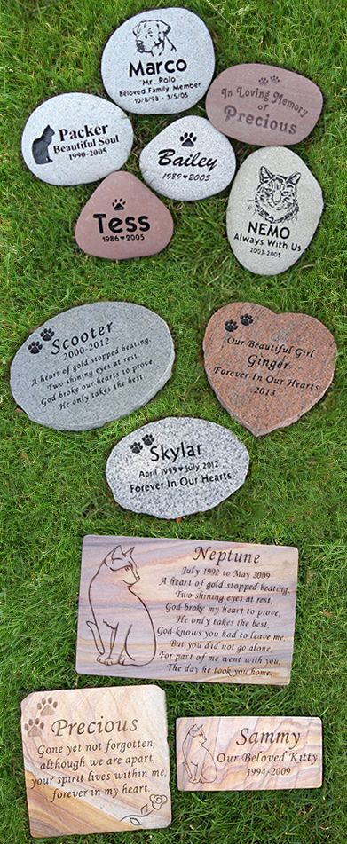 Custom Engraved Pet Memorial Stones.  Honor your beloved pet.  Perfect for dogs or cats. Visit our website for information.
